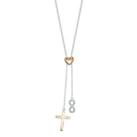 """Believe by Brilliance 14kt Gold Flash Plated Crystal Cross and Infinity Adjustable Pendant Necklace, 30"""""""