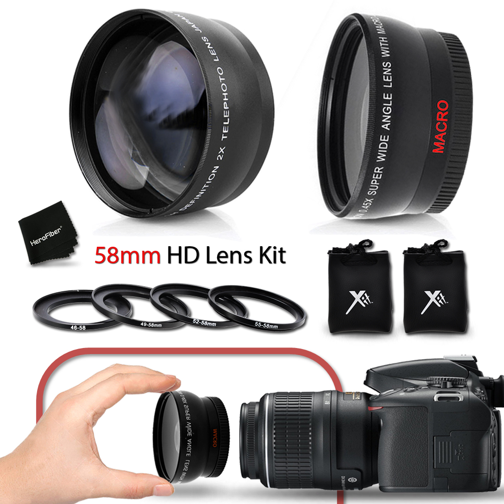 Superb 58mm Wide Angle Lens with Macro + 2 x Telephoto Le...