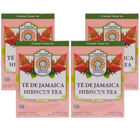 (4 Boxes) Tadin Herb & Tea Co. Hibiscus Herbal Tea, Caffeine Free, 24 Tea Bags - Hibiscus Spice Tea