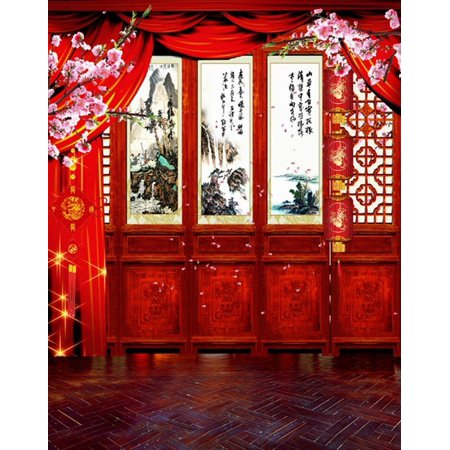 ABPHOTO Polyester 5x7ft Red Chinese Lunar New Year Spring Festival Theme Party Wall Decorations Mural Photography Backgrounds - Cheap Chinese New Year Decorations