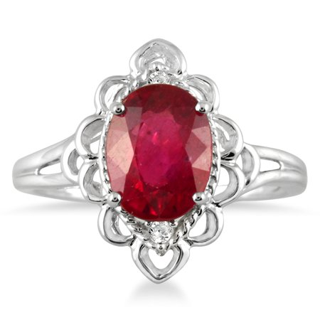 2.50 Carat Oval Ruby and Diamond Engraved Ring in 10K White Gold Oval Shape Ruby Ring