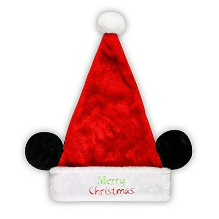 Disney Mickey Mouse Minnie Mouse Plush Santa Hat with Ears Ho Ho Ho (Merry