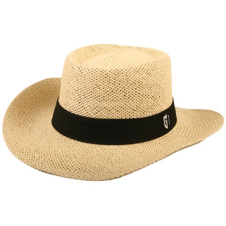 Golf Straw Hat with Black Band, (Stitch Golf Hat)