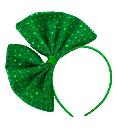 Lux Accessories Green Saint Patrick Day Glittery Huge Ribbon Fashion (Huge Ribbon)