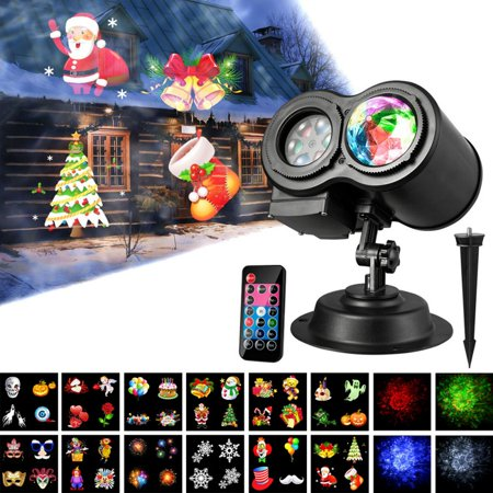 ZEDWELL Pattern and Water Wave Dual Tubes LED Projector Lights 12 Slides Remote Control Waterproof Landscape Lights for Indoor Outdoor Party Easter Halloween Christmas Decorations