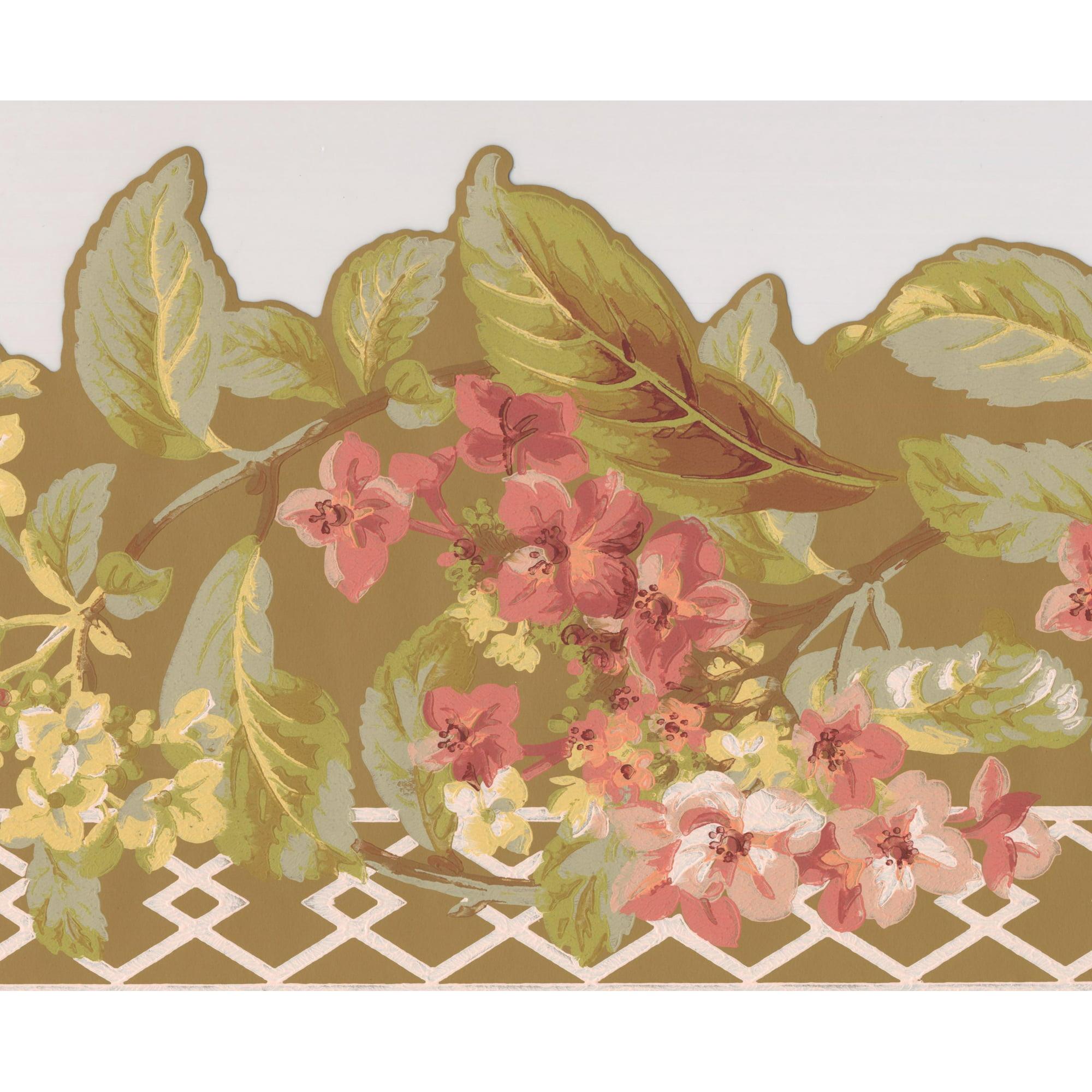 Red Yellow Flowers Mustard Floral Wallpaper Border Retro Design