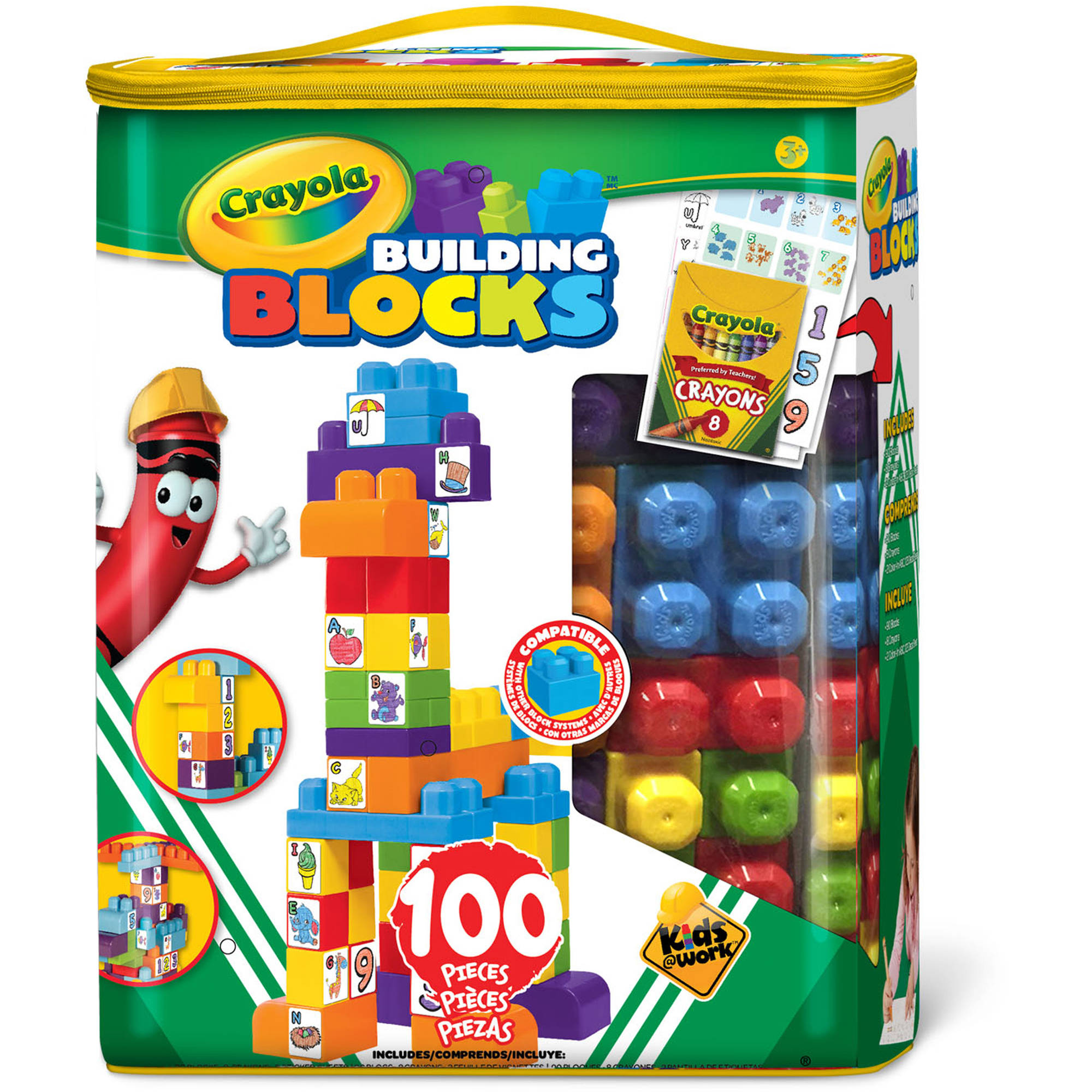 Crayola Kids@Work 100 pc Tote w 90 Blocks & Bonus 8 Crayons, 2 Decal SHeets by Amloid Corporation