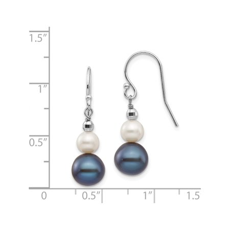 14k White Gold White Fresh Water Cultured Pearl W/ Mirror Bead (9x29mm) Earrings - image 1 of 3