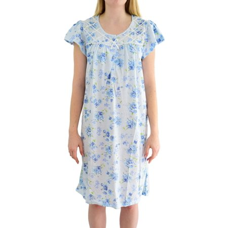 EZI Women's 'Eve' Floral Printed Cotton Nightgown