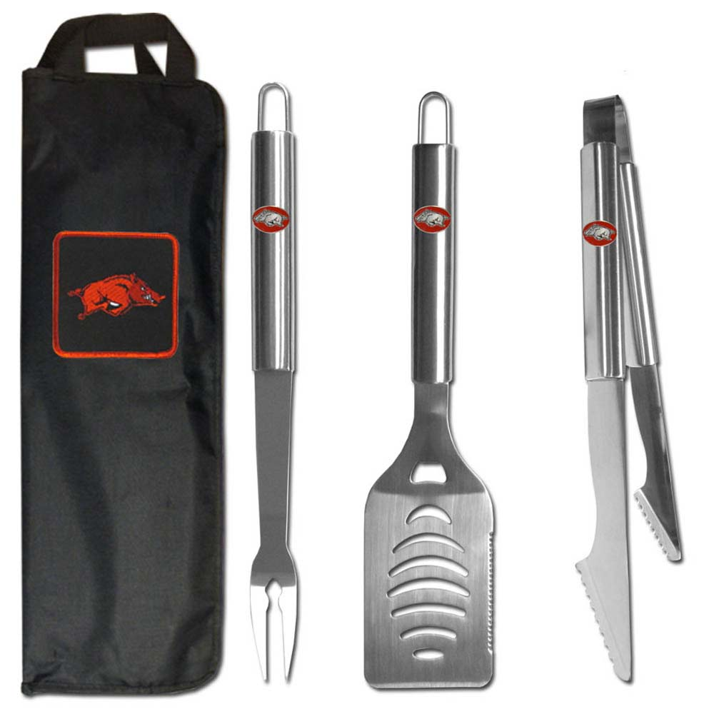 Arkansas Razorbacks 3 pc Stainless Steel BBQ Set with Bag