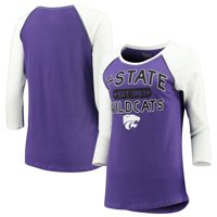 Women's 5th & Ocean by New Era Purple Kansas State Wildcats 3/4-Sleeve Scoop Raglan T-Shirt