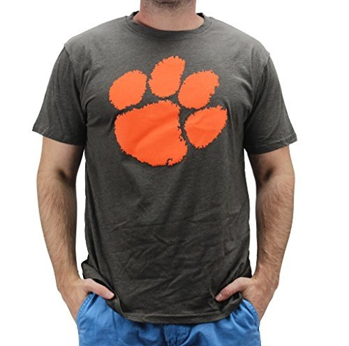 4th and 1 Men's Clemson Tigers Paw Claw Logo T Shirt Grey