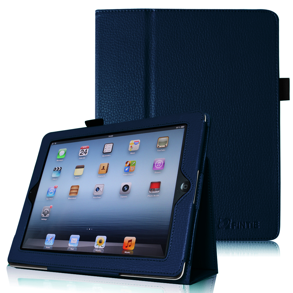 Fintie iPad 2/ iPad 3/ iPad 4 Gen Folio Case - PU Leather Cover with Auto Wake/ Sleep Feature, Navy