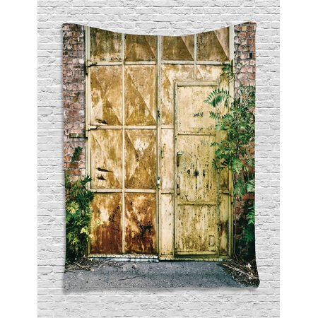 Industrial Tapestry  Rustic Brick House Still Door With Moss And Dirt Urban Garage Outdoor Image  Wall Hanging For Bedroom Living Room Dorm Decor  60W X 80L Inches  Green Yellow  By Ambesonne