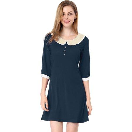 87a1c9710db Women s Peter Pan Collar Mid Sleeve Pullover Shift Dress