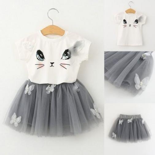 Summer Party Princess Toddler Kids Baby Girls Outfits Cat Print Clothes T-shirt Tops+Tutu Dress Skirt 2PCS Set 2-7T