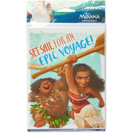 Moana Invite And Thank You Combo Pack 8 Count Party Supplies
