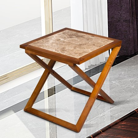 - Sleeplace Natural Marble Top Solid Wood Base X End Table, Light Brown,Brown