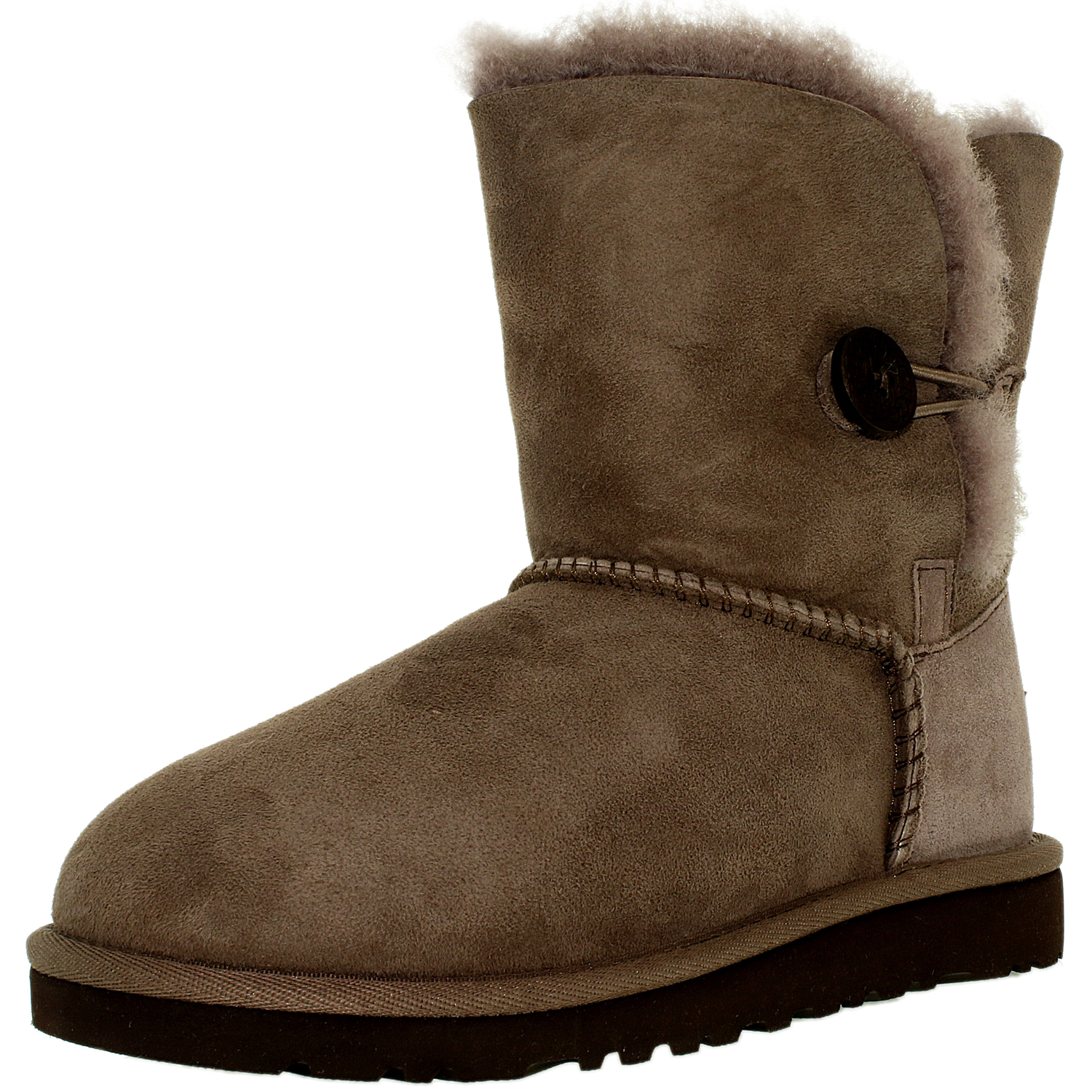 Ugg Girl's Bailey Button K Stormy Grey Mid-Calf Wool Snow Boot - 13M