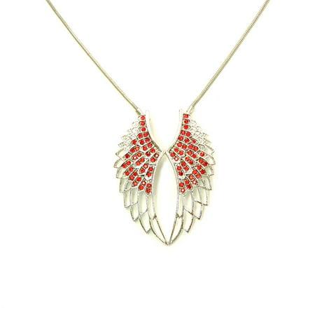 Faship Gorgeous Aqua Rhinestone Crystal Angel Wings Pendant Necklace