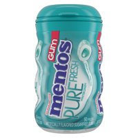 Mentos Pure Fresh Sugar-Free Chewing Gum with Xylitol, Wintergreen, 50 Piece Bottle