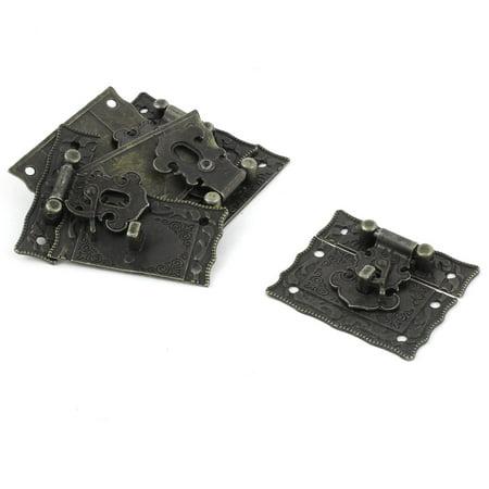 Rectangular Decorative Metal Hasp Pad Lock Antique Latch Bronze Tone 4pcs