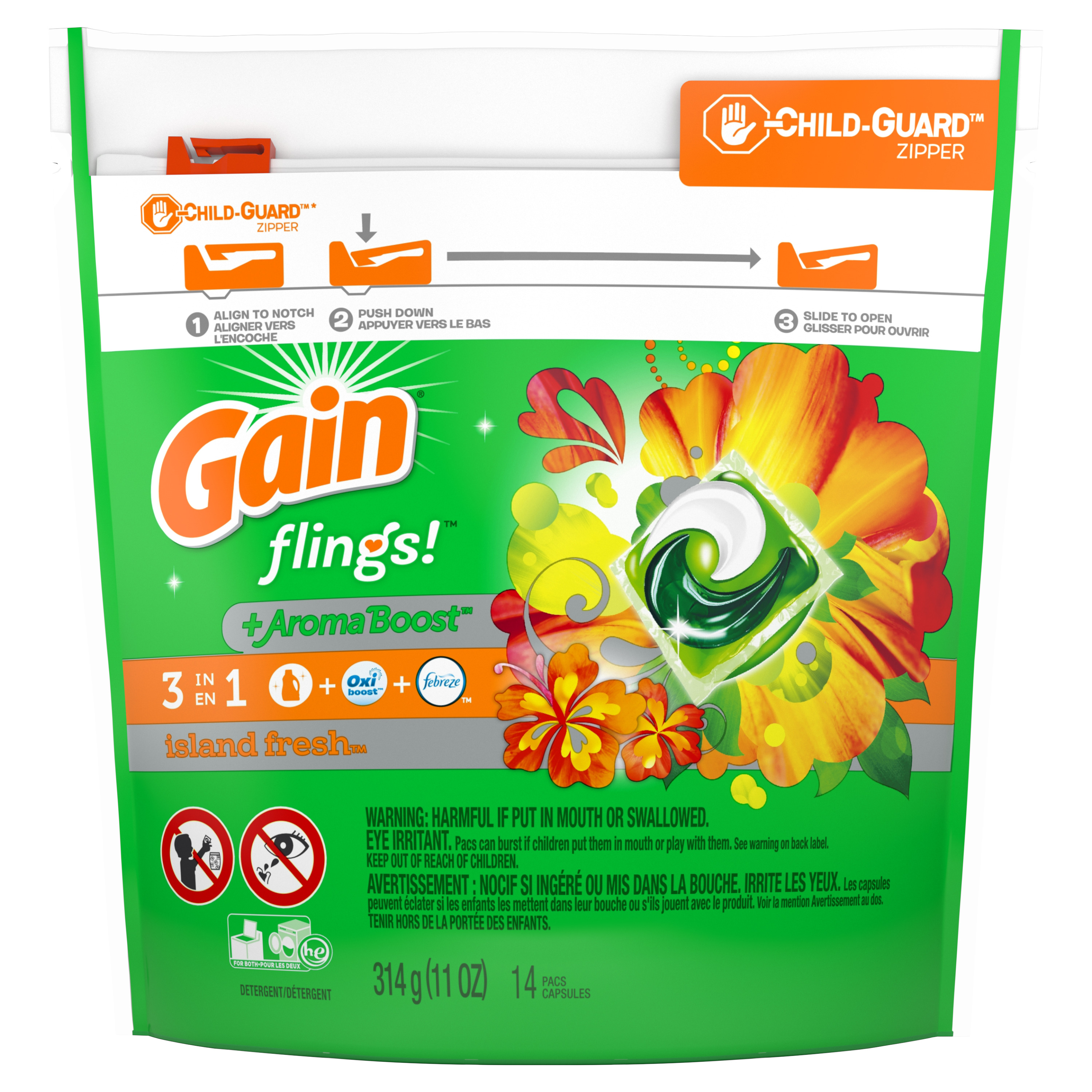 Gain flings! Laundry Detergent Pacs, Island Fresh, 14 count