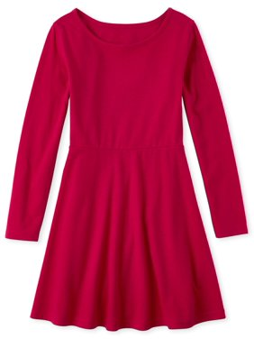 The Children's Place Girls 4-16 Heart Back Long Sleeve Pleated Dress