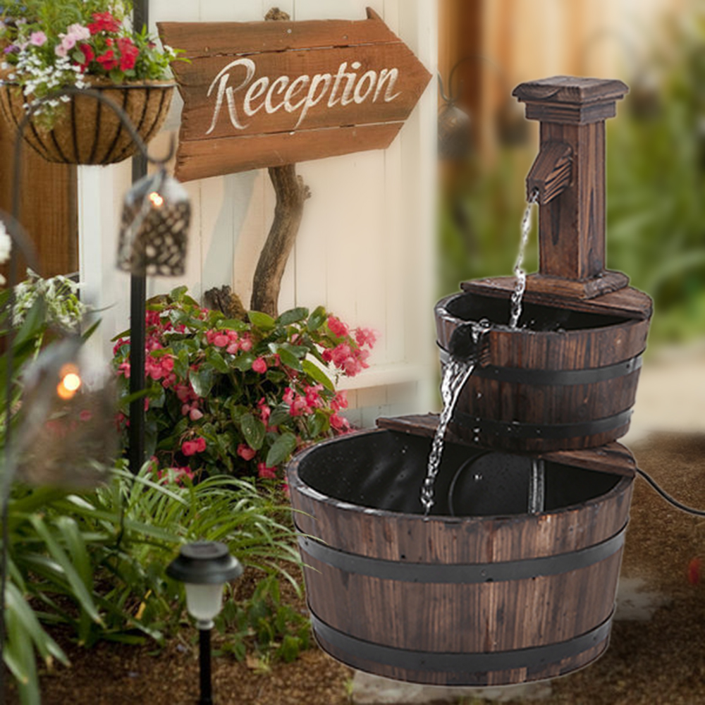 IKayaa 3 Tier Wood Barrel Outdoor Water Fountain W/ Pump Leak Proof  Cascading Water