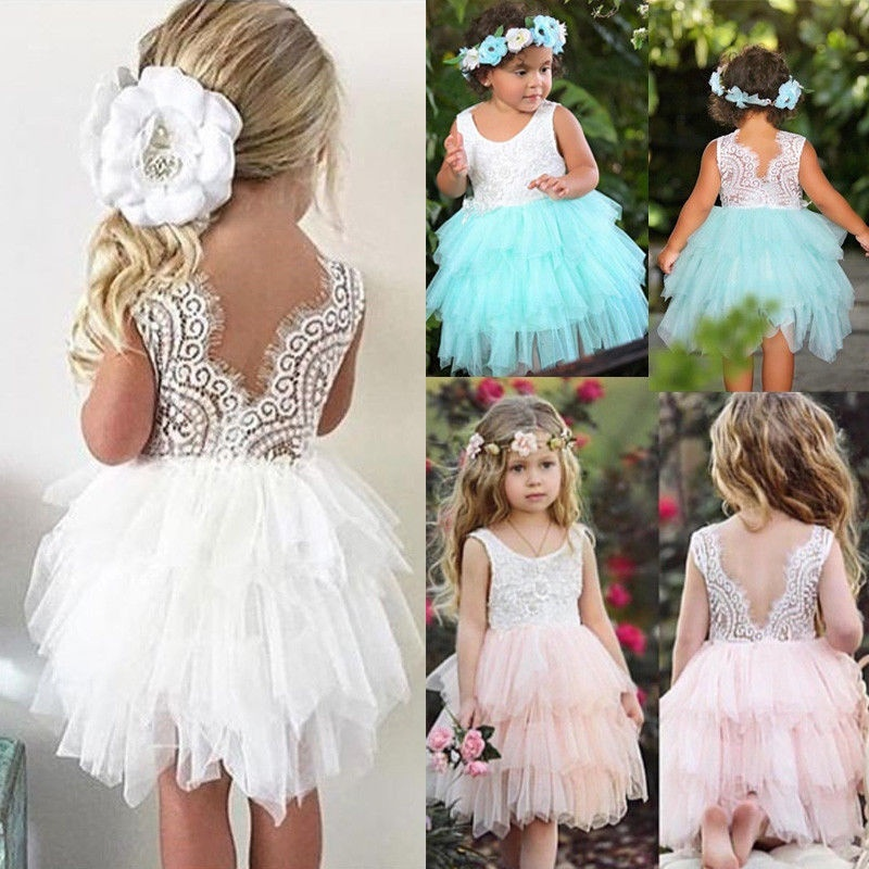 Baby Girls Princess Tutu Wedding Party Dresses Kids Suspender Flower Cat Print Sundress