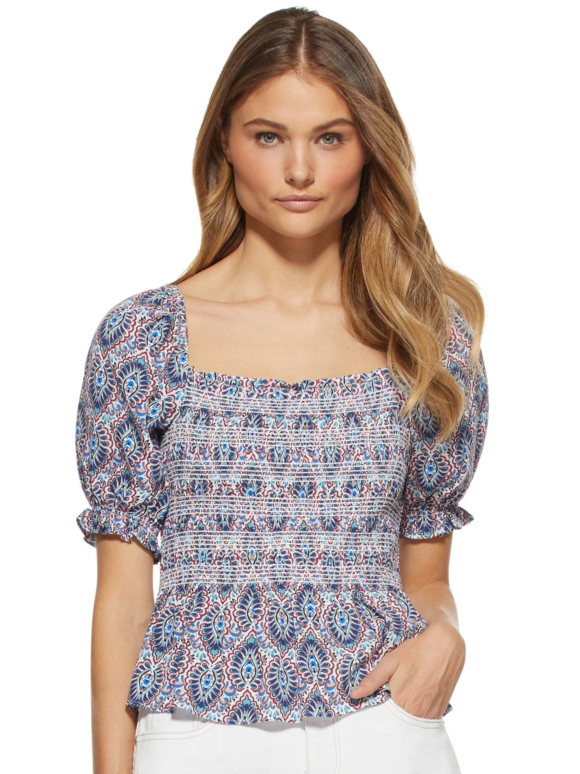 Scoop Women's Smocked Puff Sleeve Top