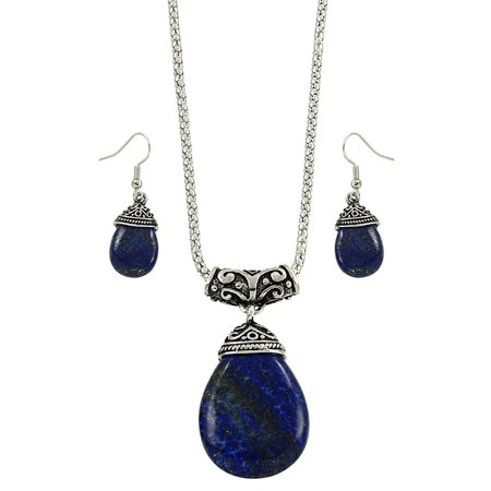 Teardrop Necklace And Earring Set - Falari Tear Drop Shaped Natural Gemstones Necklace Earring Set