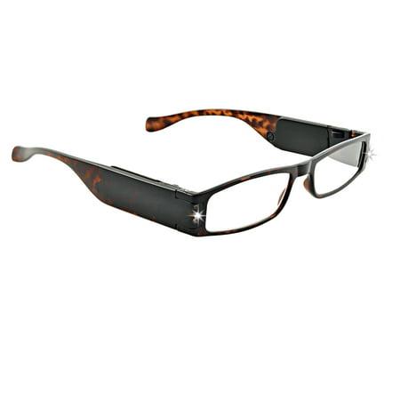 LightSpecs LightWeight Reading Glasses with LED lights +2.25 Power, Tortoise, w/Tube Case Tortoise Lighted Reading Glasses