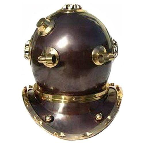 EC World Imports Antique Reproduction U.S. Navy Mark-V Brass Diving Helmet by ecWorld
