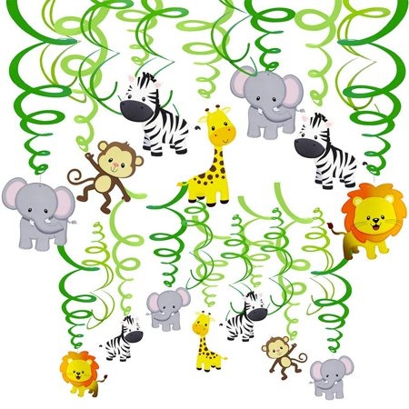 Safari Themed Giveaways (Supla 30 pcs Jungle Animals Hanging Swirl Decorations Green Safari Party Forest Animal Theme Supplies for Baby Shower Kids 1st Birthday Nursery School Classroom Bedroom Bathroom Table)