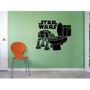 Star Wars Logo Mural Movie Series Characters Design Art Decor Silhouette Custom Wall Decal Vinyl Peel & Stick Sticker 12 Inches X 12 Inches