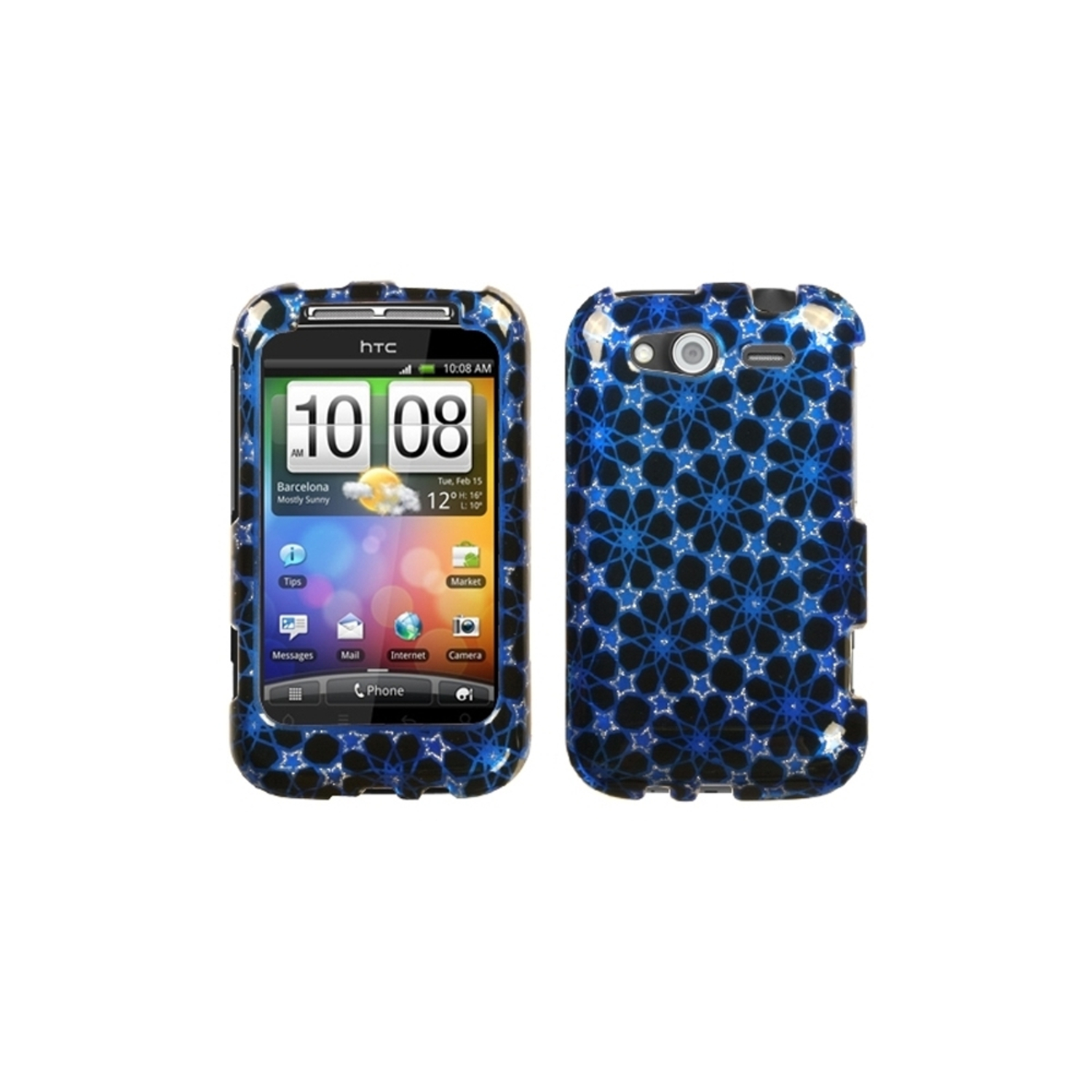 Insten Twinkle Stars/Blue (2D Silver) Sparkle Phone Case for HTC: Wildfire S (GSM), Wildfire S (CDMA)
