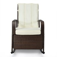 Indoor Outdoor Patio Rocking Chair Porch Lawn Deck Wicker Rattan Recliner