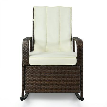 Topbuy Indoor & Outdoor Patio Rocking Chair Porch Garden Lawn Deck Wicker Auto Adjustable Reclining ()