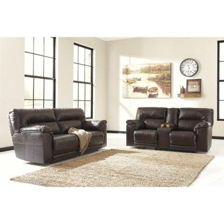 Ashley Barrettsville 2 Piece Leather Reclining Sofa Set In Chocolate Walmart Com