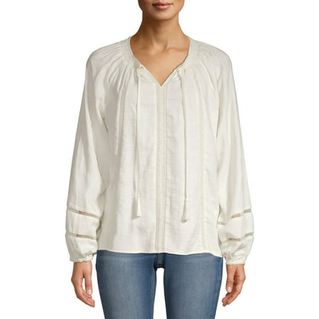 Time and Tru Women's Smock Neck Peasant Top Glam Peasant Top