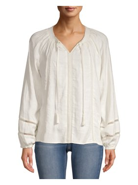 Time and Tru Women's Smock Neck Peasant Top