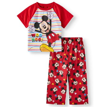 Baby Boys' Mickey Mouse Short Sleeve Top and Long Pants, 2-Piece Pajama Set