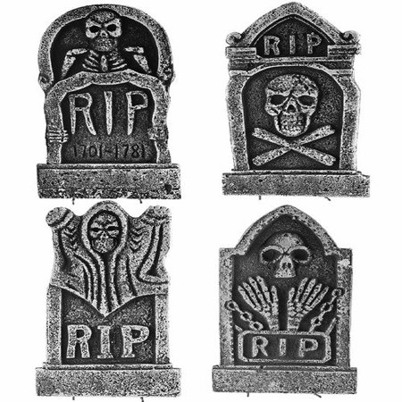 The Holiday Aisle 4 Piece Halloween RIP Graveyard Tombstone Decorations Set