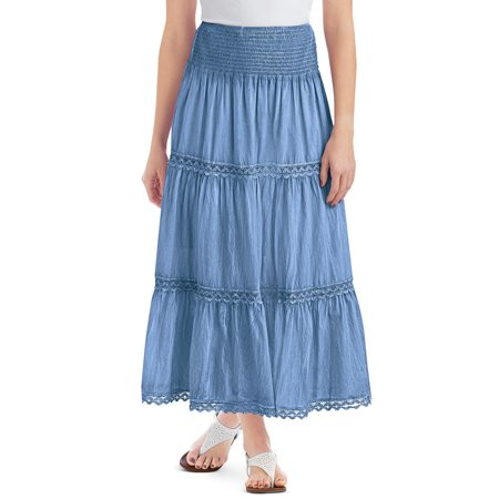 Women's Lace Trimmed Tiered Pull-On Skirt with Wide Elastic Waistband - Stylish Seasonal Skirt for Everyday Wear, Large, Light Blue
