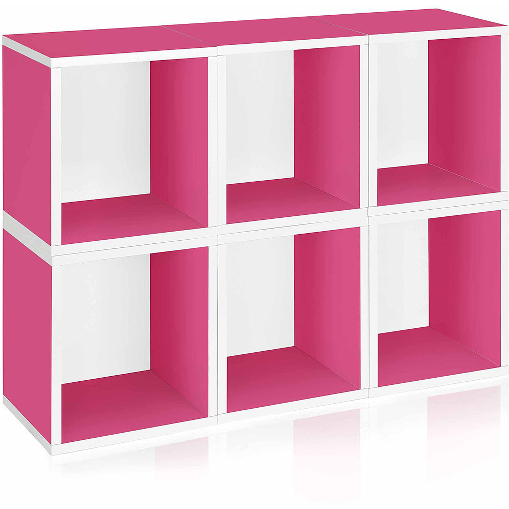 Way Basics Eco Stackable Modular Storage Cubes Plus, Pink, 6-Pack