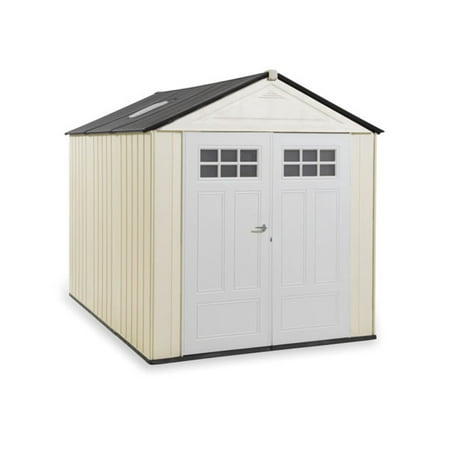 Outdoor Wood Storage Building (Rubbermaid 7' x 10' Storage Building, Maple)