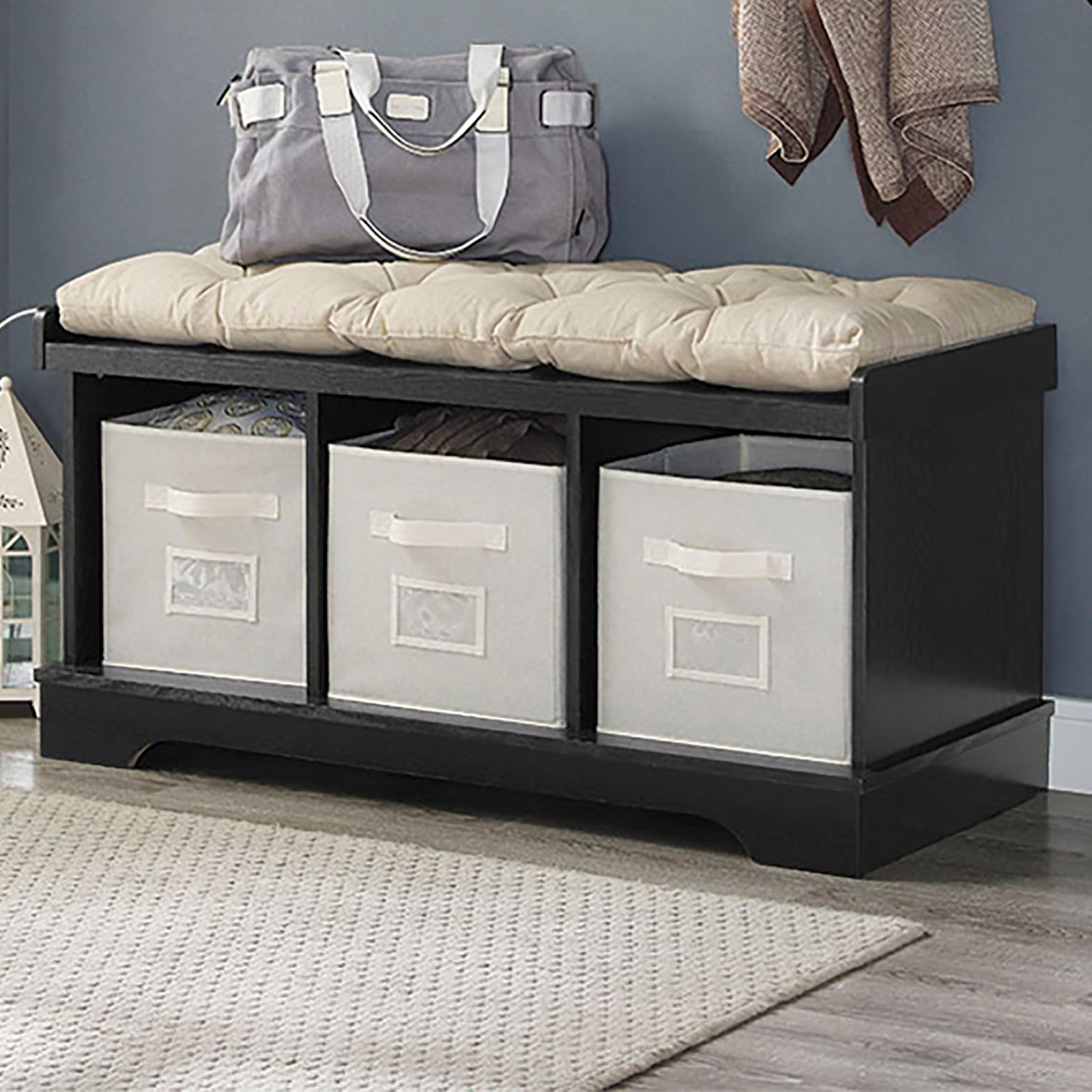 Walker Edison 42 In Wood Storage Bench With Totes And Cushion