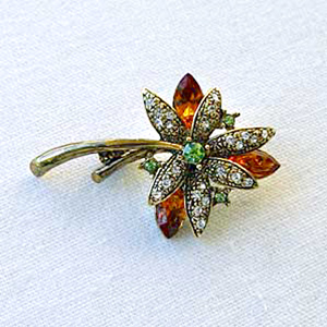 Platinum-Plated Swarovski Crystal Enamel Flower Pin  Brooch (1 2 x 1 3 4) Gift Boxed by