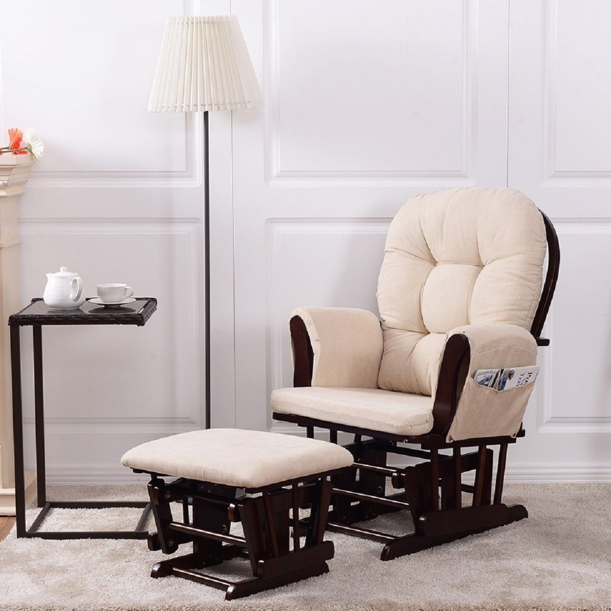 Costway Baby Nursery Relax Rocker Rocking Chair Glider & Ottoman Set w/ Cushion Beige